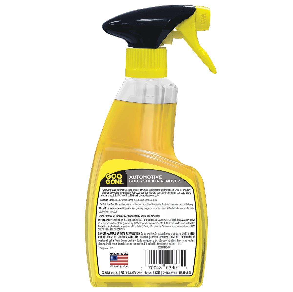 Automotive Adhesive Remover Spray Gel back label