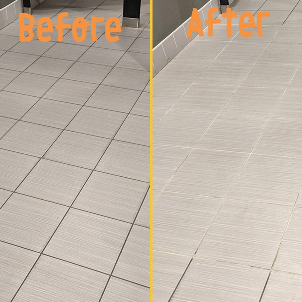 Dirty grout before vs clean grout after