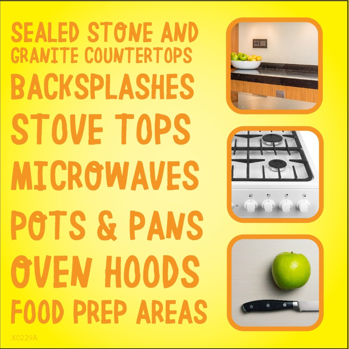 Works on variety of kitchen surfaces