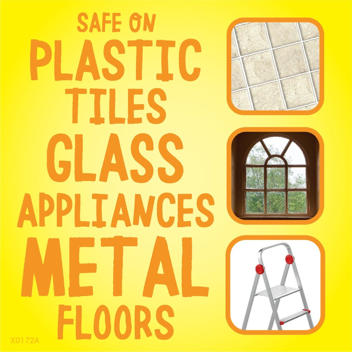 Safe on plastic, tile, glass and more