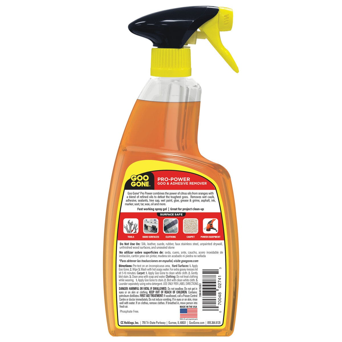 Pro Power Spray Gel back label